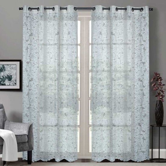 """Sheer Curtain Floral Paisley Champagne 52""""x90"""