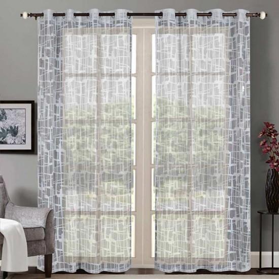"Sheer Curtain Square Lace Metallic Grey 52""x90'"