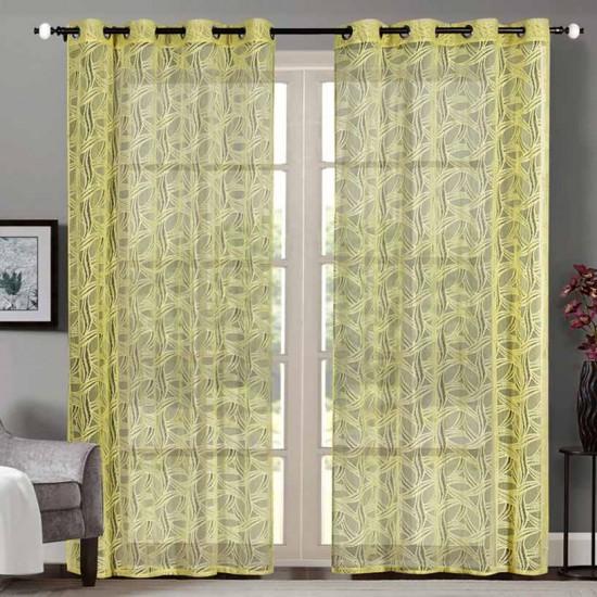 """Sheer Curtain Circle Lace Yellow 52""""x90'"""