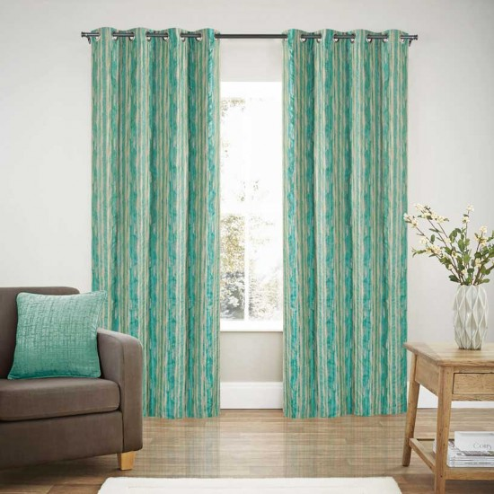 Curtain Blackout S/2 Chalk Stripe Jade
