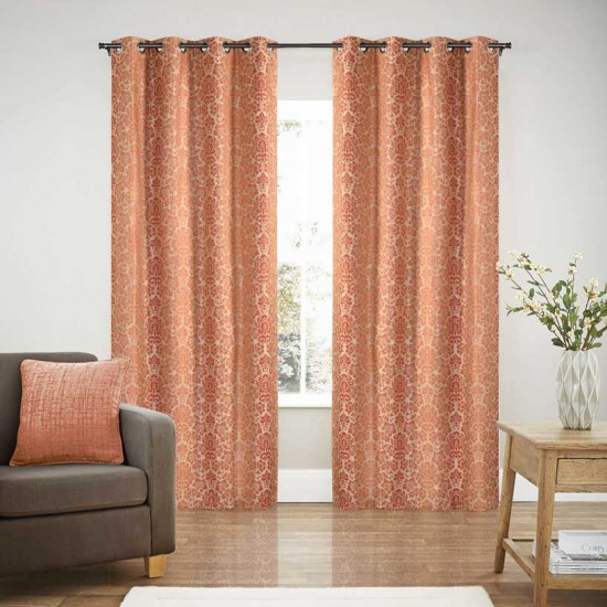 Curtain Blackout S/2 Bloom China Red