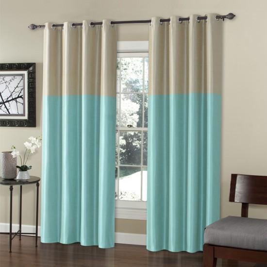 9 ft Curtain Blackout S/2 Silk Weave Jade