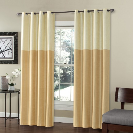 9 ft Curtain Blackout S/2 Silk Weave Gold