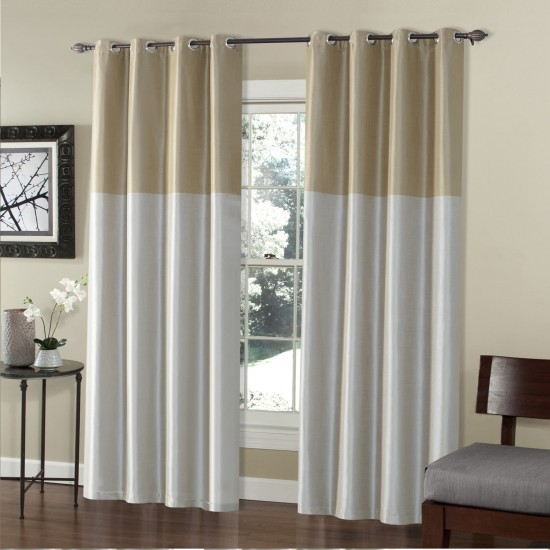 9 ft Curtain Blackout S/2 Silk Weave Patina