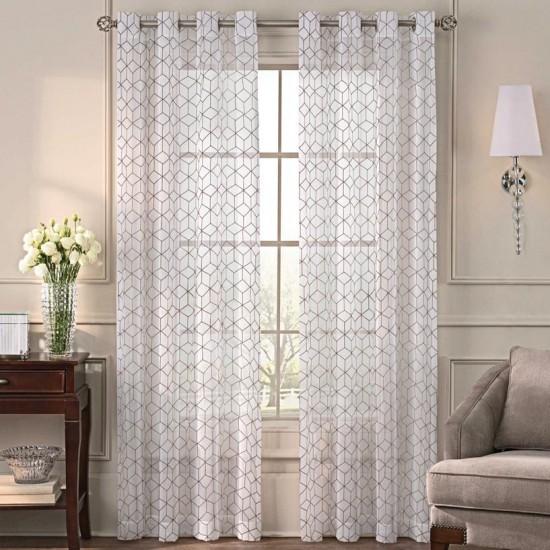 Sheer Curtain  S/2 Felecia Beige