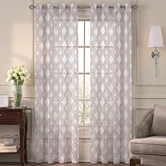 5 ft Sheer Curtain  S/2 Sandra Bloom Peach