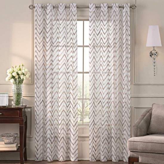 9 ft Sheer Curtain S/2 Misha Taupe Patina