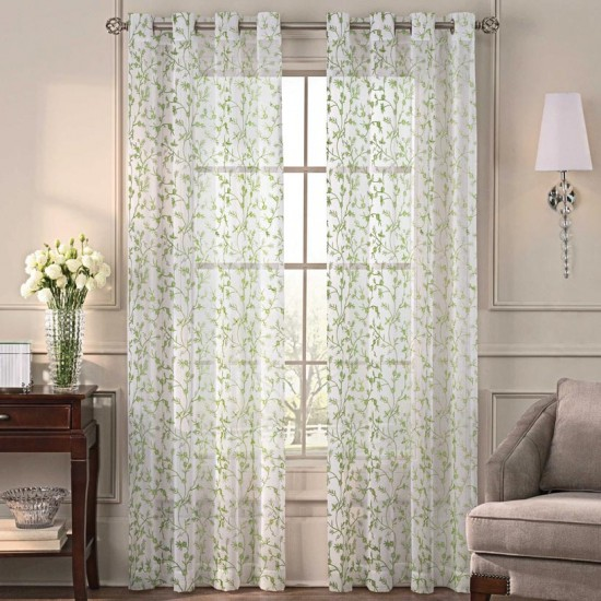 7.5 ft Sheer Curtain  S/2  Robin Florencia Green