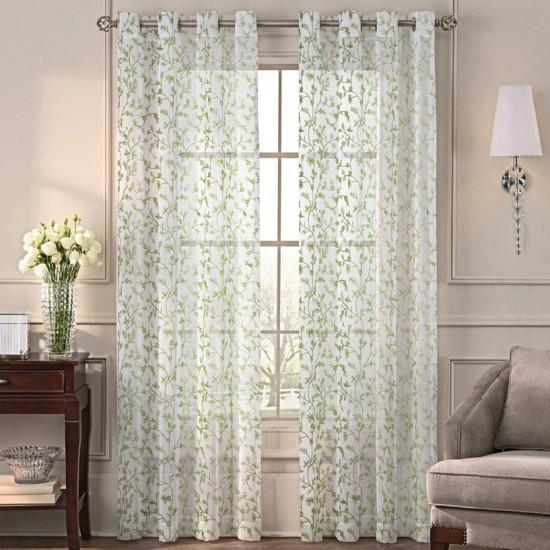 9 ft Sheer Curtain  S/2  Robin Florencia Green