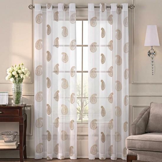 Sheer Curtain  S/2 Angela Gold