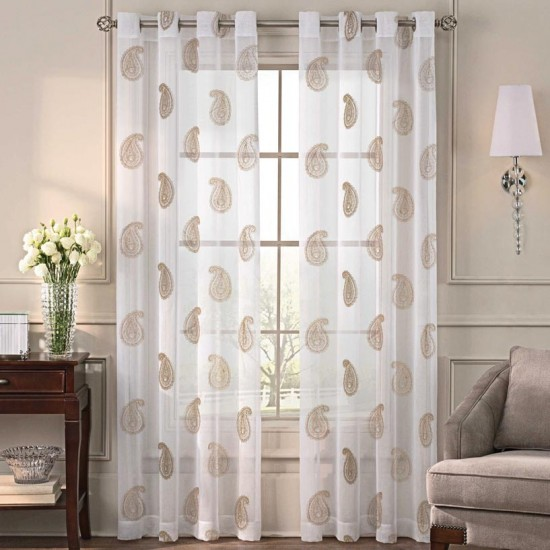 5 ft Sheer Curtain  S/2 Angela Gold