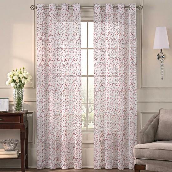 Sheer Curtain S/2  Chiya China Red