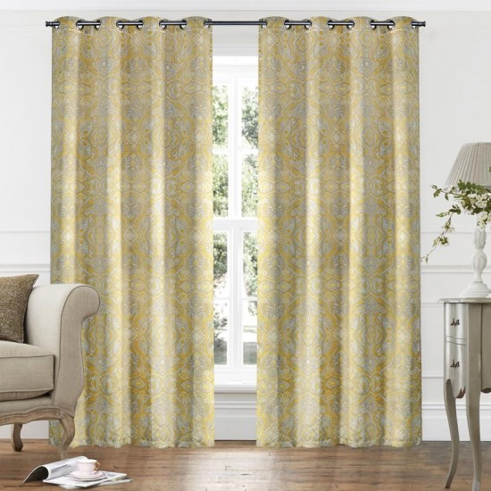 9ft Paisley Gold Printed Blackout Curtains Set of 2