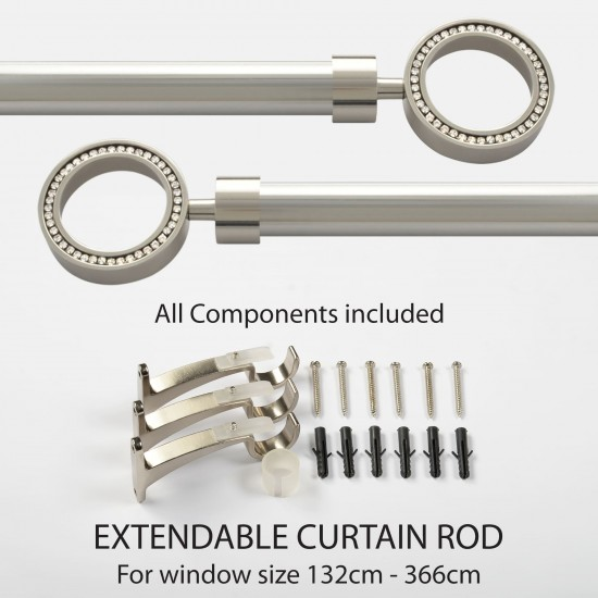 """52""""-144"""" Orion Iron 25mm Extendable Curtain Rod Bright Nickel finial"""