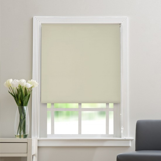 "Polyester Blend Blackout Roller Blinds for Windows (48"" Wide X 84"" Long, Silver Grey Morn)"
