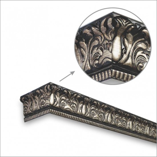 Window Pelmets Damask Brown brush