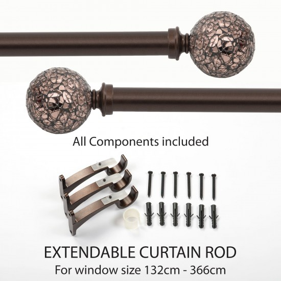 "52""-144"" Glory Mosaic Iron 25mm Extendable Curtain Rod Brown Oil Rubbed"