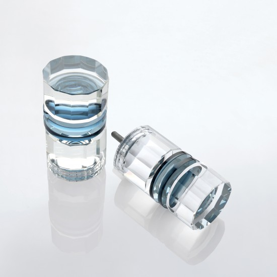 Cylinder Lead Crystal Finial Set of 2