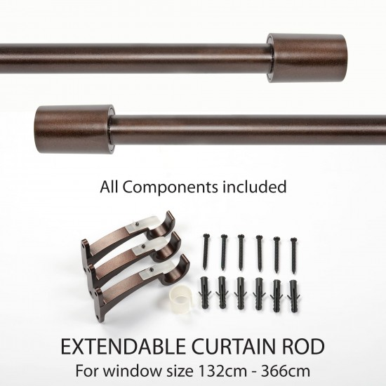 "Aries Curtain Rod Brown Oil Rubbed 52""- 144"" finial"