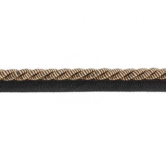 Swirl Cord With Lip 8 mm Black/Gold (Trims)