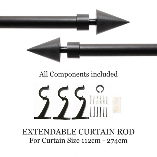 "Curtain Rod Cone Black Matt (44''-108"")"