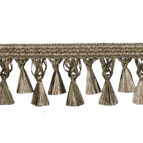 Gazal Tassel Ribbon 10cm Dark Beige Mix (Trims