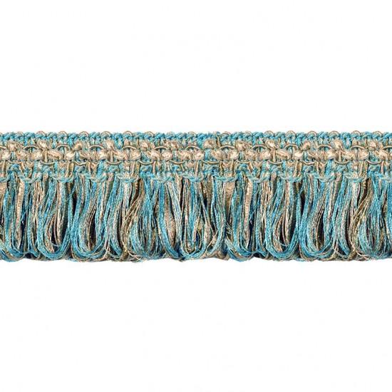 """Gazal Ribbon 2.2"""" Turquoise Beige Mix"""
