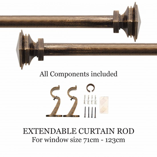 "Stacked Square 32mm Curtain Rod 28"" - 48"" Bronze Shiny"