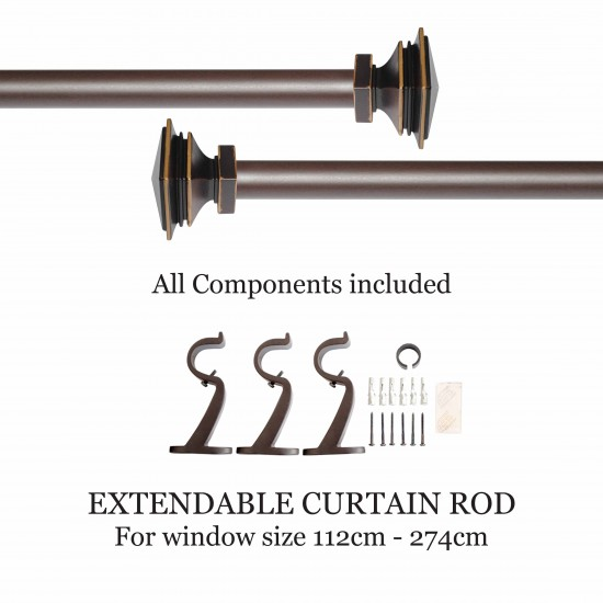 """Stacked Square 32mm Curtain Rod 44""""- 108"""" Roman Bronze"""