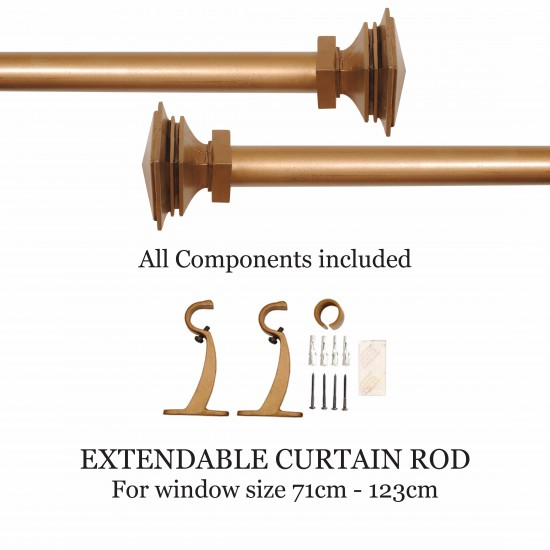 "Stacked Square 32mm Curtain Rod 28""- 48"" Gold Brown Wash"