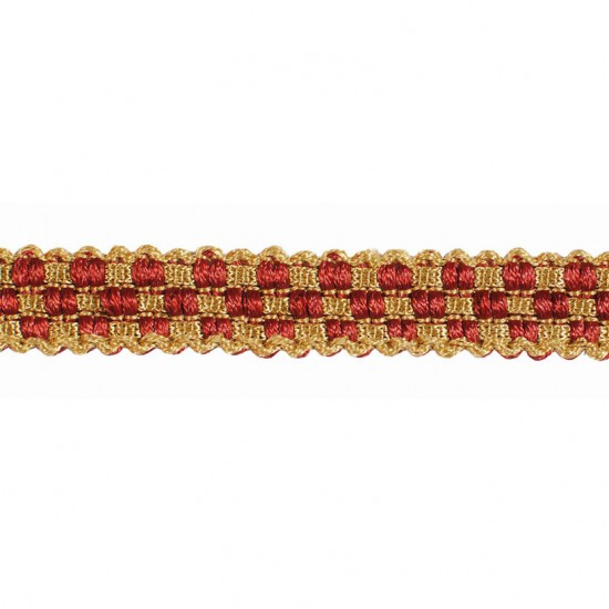 Mosaic Gimp  0.5 inch Gold/Red Rust