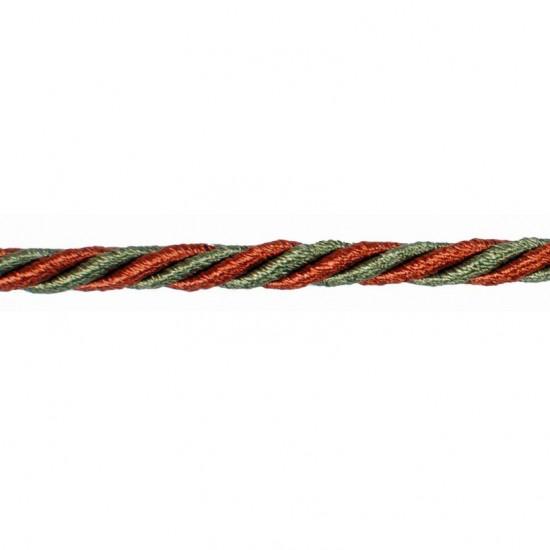 Mosaic Cord 5mm Brick/Sage /Beige