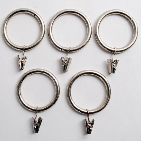Curtain Rings with Clip for Rod 32mm (Set of 14) Satin Silver