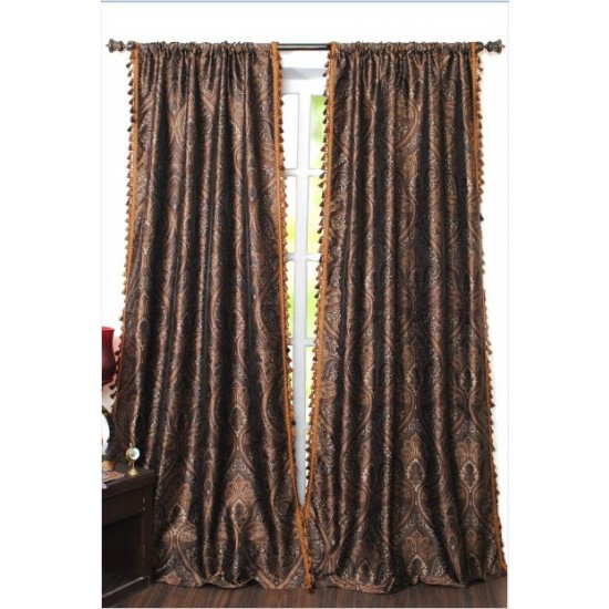 "Curtain Meera 96"" Gold Beige/Brown Mix"
