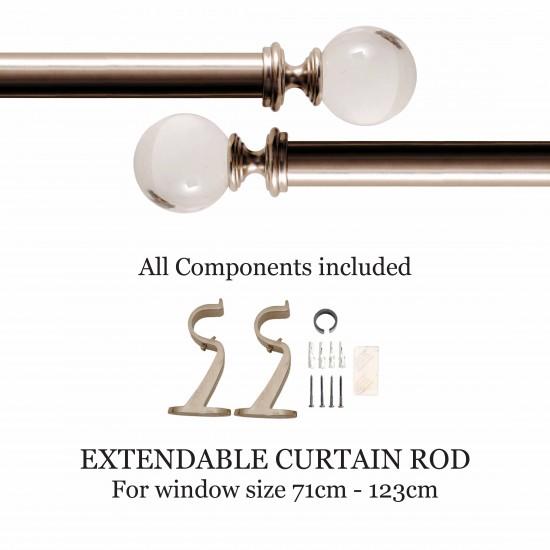"""Curtain Rod Acrylic Ball Satin Silver(44''-108"""")"""
