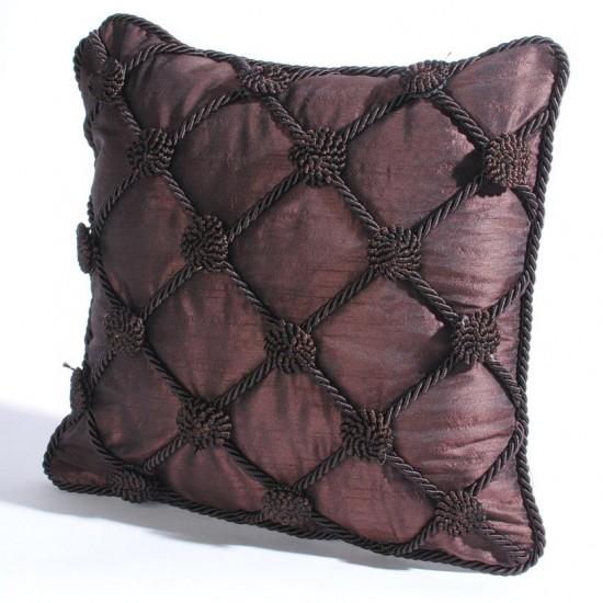 "Cushion Cover Rosette 16"" X 16 "" Chocolate"