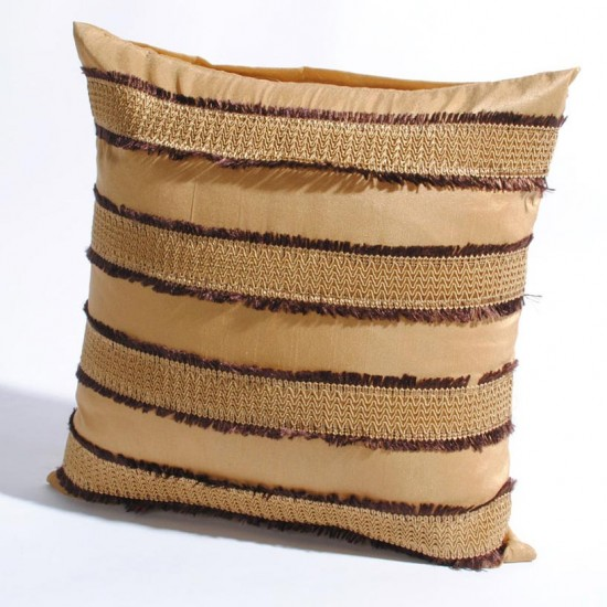 "Cushion Cover Frayed with gimp 16"" X 16 "" Gold"