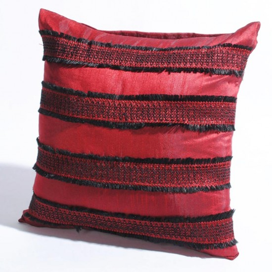 """Cushion Cover Frayed with gimp 16"""" X 16 """" Red"""