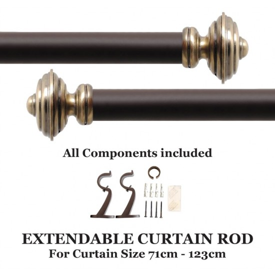 """Staked Round 32mm Double Curtain Rod 28""""- 48"""" Brown Matt"""