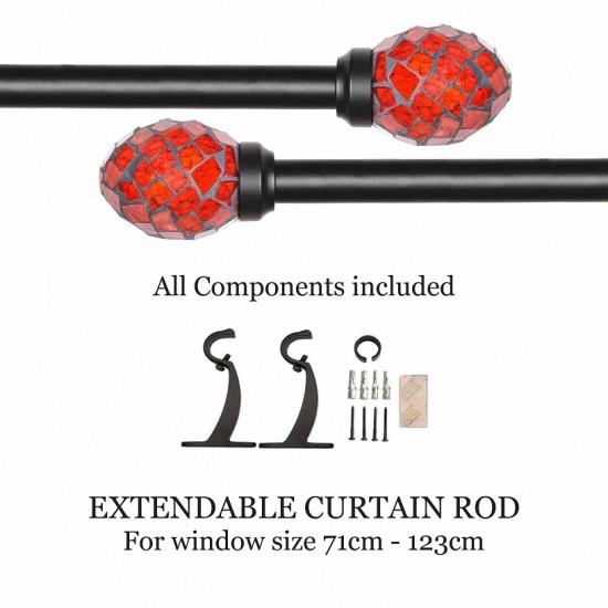 "Curtain Rod Oval Mozaic Black Matt (28''-48"")"