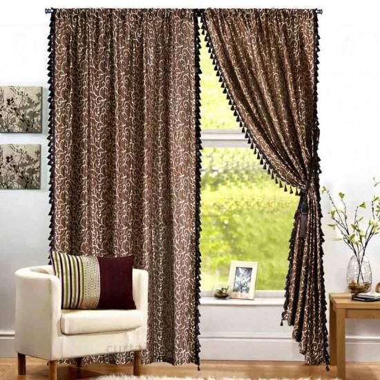 "Curtain Leaf Fringe 96"" Chocolate"