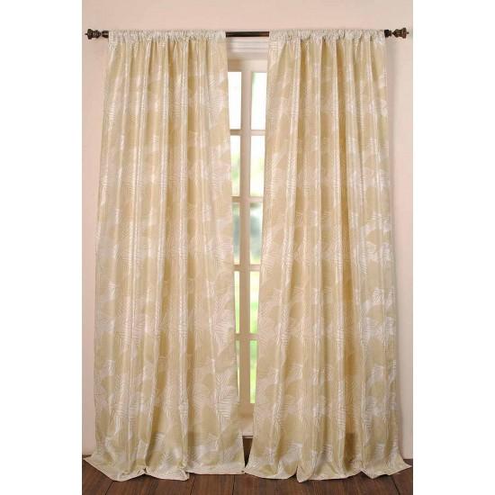 "Curtain Jacquard Leaf Oil Green 96"""