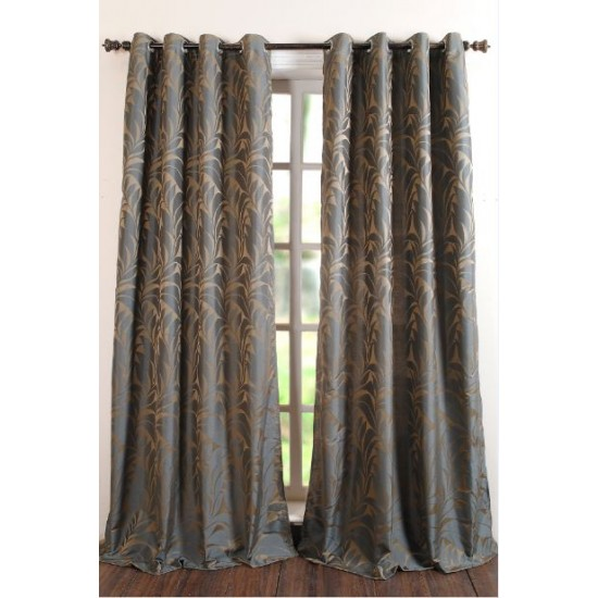 Curtain Jacquard Stem Grey Blue 96""
