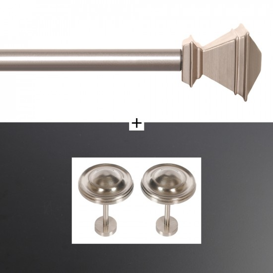 "Combo of Curtain Rod Inverted Square 28""- 44"" With Holdback Spin Medallion Satin Silver"