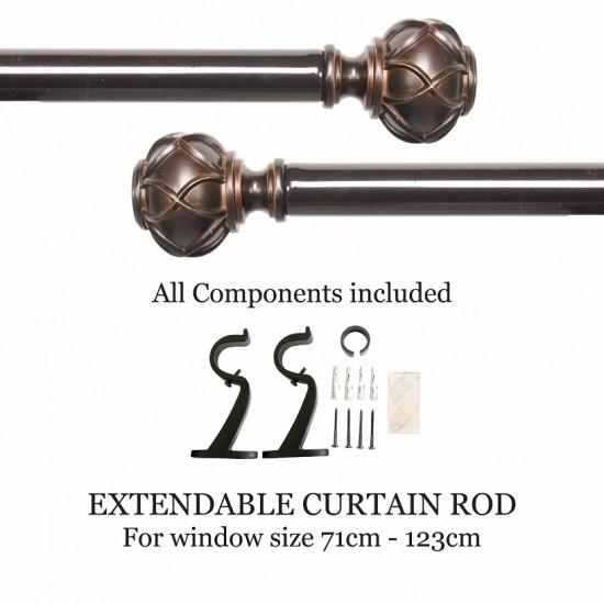 "Majestic Round 28mm Curtain Rod 28"" - 48"" Shiny Bronze"