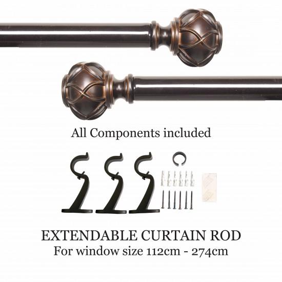 "Majestic Round 28mm Curtain Rod 44"" - 108"" Shiny Bronze"