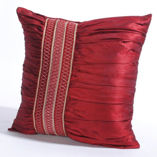 "Cushion Cover Broad Trim Ruffle 16"" X 16 "" Red"