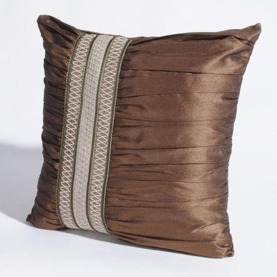 "Cushion Cover Broad Trim Ruffle 16"" X 16 "" Milk Chocolate"