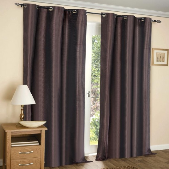 (Set of 2) 7ft Solid Hungama Curtain Chocolate