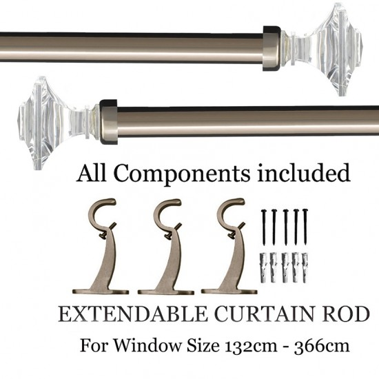 "Acrylic Square Curtain Rod Black Nickle 52""- 144"""